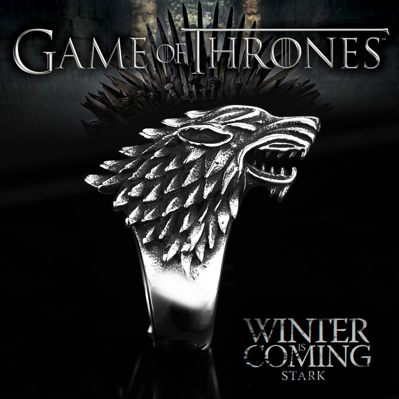 Stainless Steel ring Game of Thrones ice wolf House Stark of Winterfell Biker animal ring - Game of Thrones Ice Wolf Stark of Winterfell Stainless Steel Ring