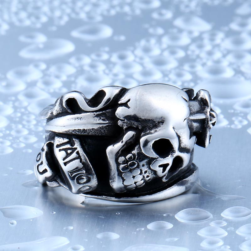 316L Stainless Steel ring high quality Cool Tattoo Punk Skull Jewelry Ring LLBR8 - Cool Tattoo Punk Skull Stainless Steel Ring