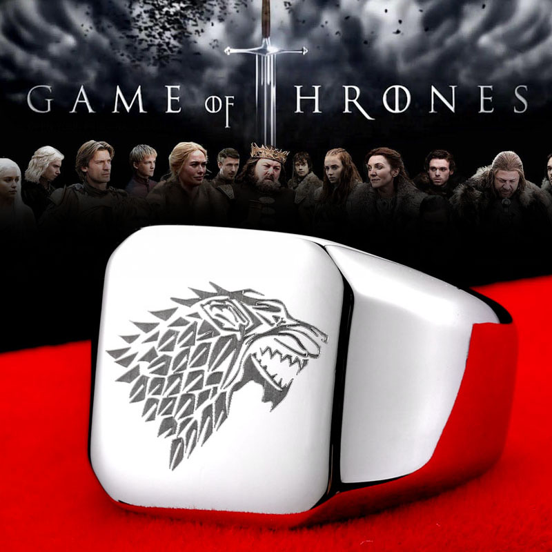 316L stainless steel ring movie style game of thrones fashion popular ring ice wolf men - Game of Thrones Ice Wolf Stainless Steel Ring