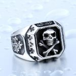 Drop Shipping Sale Stainless Pirate Part Plated Gold Skull For Man Titanium Steel Boy s Punk 150x150 - Pirate Skull Ring