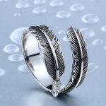 New Designed Vintage Feather 316L Stainless Steel Rerto Leave Ring For Man Woman Never Fade 150x150 - Vintage Feather Stainless Steel Ring