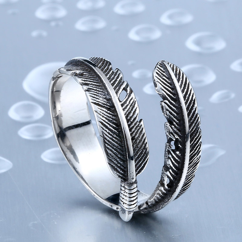 New Designed Vintage Feather 316L Stainless Steel Rerto Leave Ring For Man Woman Never Fade - Vintage Feather Stainless Steel Ring