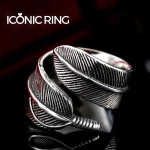 Retro Gothic Feather Ring