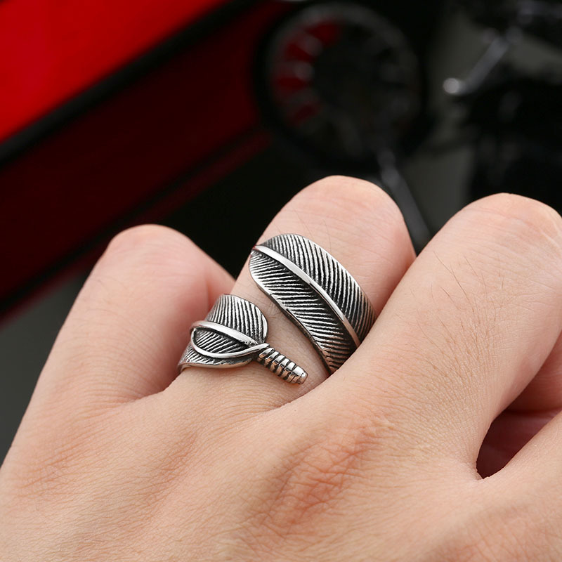 Retro Gothic Feather Ring 5 - Retro Gothic Feather Ring