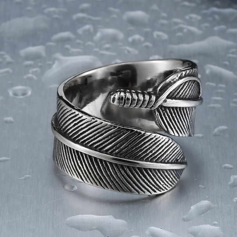Retro Gothic Feather Ring For Man And Woman Stainless Steel Men s One Piece Sale - Gothic Feather Stainless Steel Ring