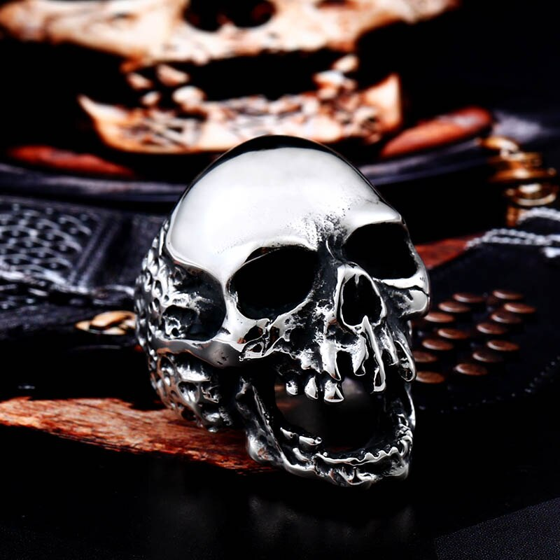 Unique Original Style Big Skull For Man Stainless Steel Punk Rock Male Personality Ring halloween - Unique Big Skull Stainless Steel Ring