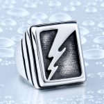 Vintage Man s Lightning Stainless Steel Never Fade Collection Titanium Boy s Punk Jewelry Ring BR8 150x150 - Vintage Lightning Punk Stainless Steel Ring