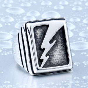 Vintage Man s Lightning Stainless Steel Never Fade Collection Titanium Boy s Punk Jewelry Ring BR8 300x300 - Vintage Lightning Punk Stainless Steel Ring