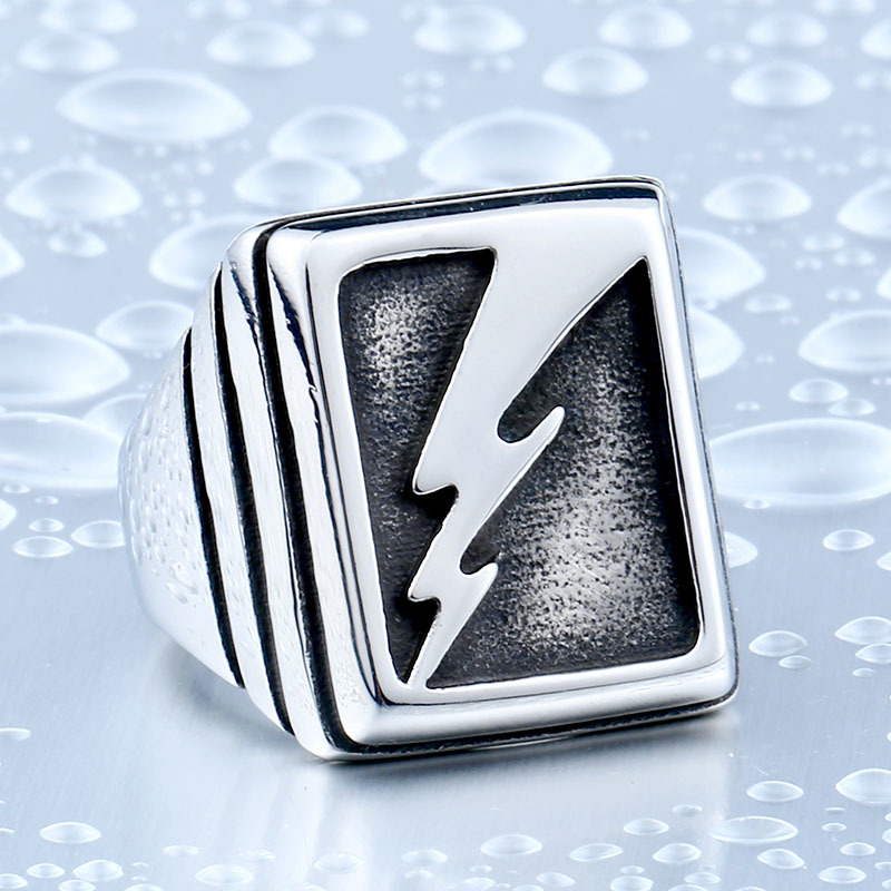 Vintage Man s Lightning Stainless Steel Never Fade Collection Titanium Boy s Punk Jewelry Ring BR8 - Vintage Lightning Punk Stainless Steel Ring