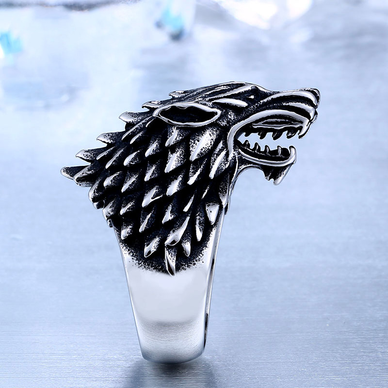 game of thrones ice wolf 3 - Game of Thrones Ice Wolf Stark of Winterfell Stainless Steel Ring