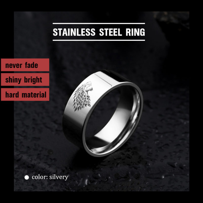 got silvery 800x800 - Game of Thrones Ice Wolf Stainless Steel Ring