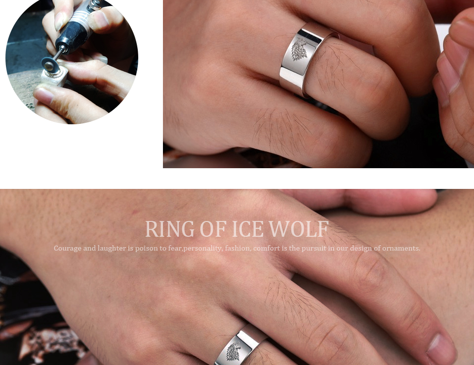 got11 - Game of Thrones Ice Wolf Stainless Steel Ring