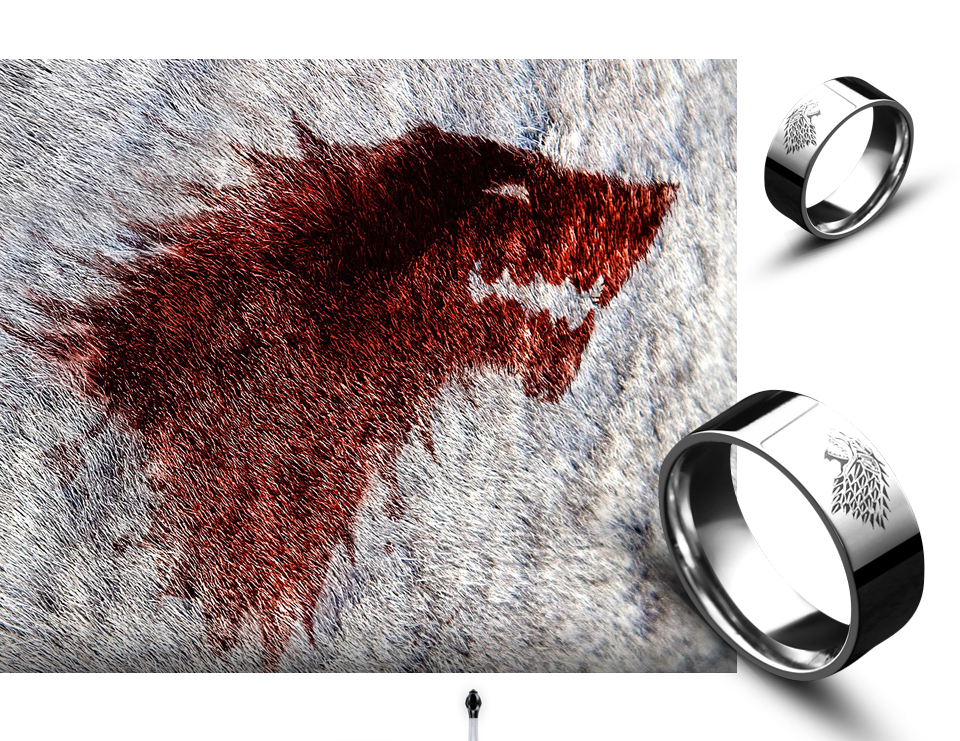 got2 - Game of Thrones Ice Wolf Stainless Steel Ring