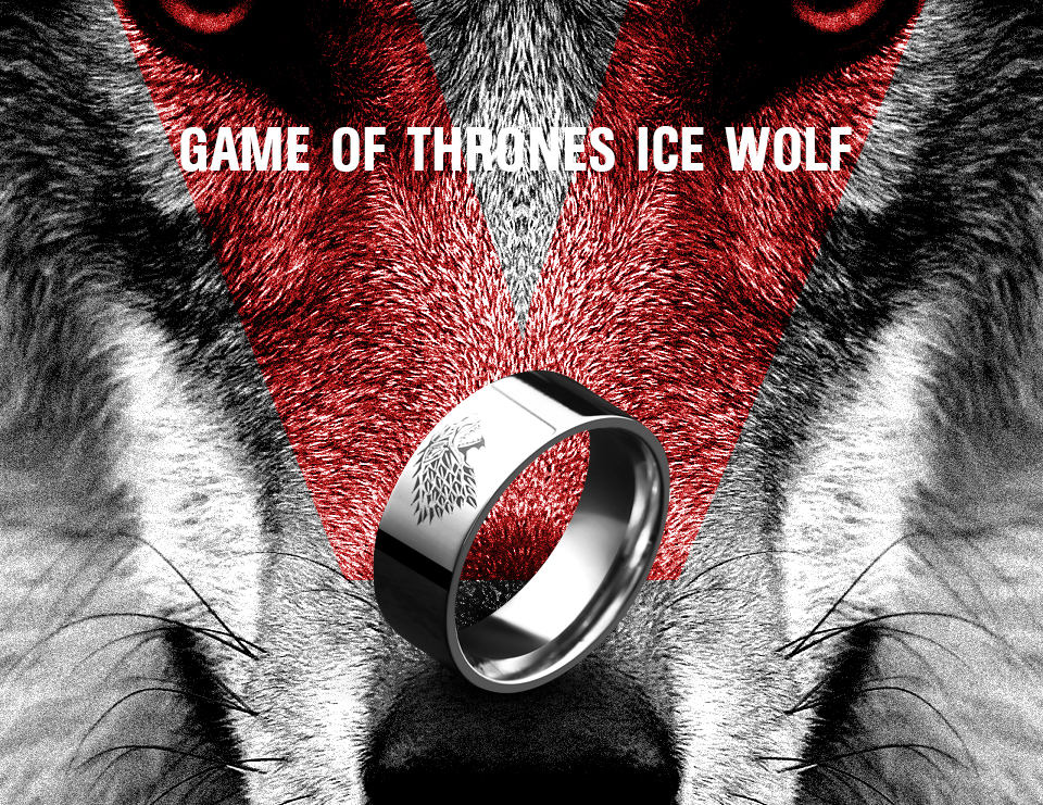 got22 - Game of Thrones Ice Wolf Stainless Steel Ring