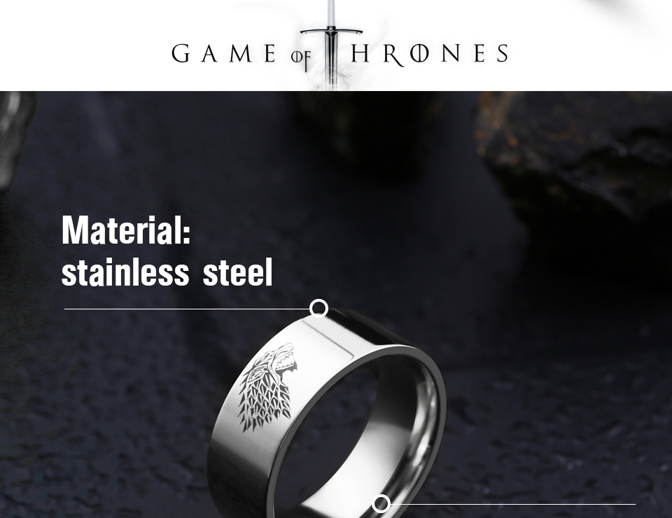 got3 - Game of Thrones Ice Wolf Stainless Steel Ring