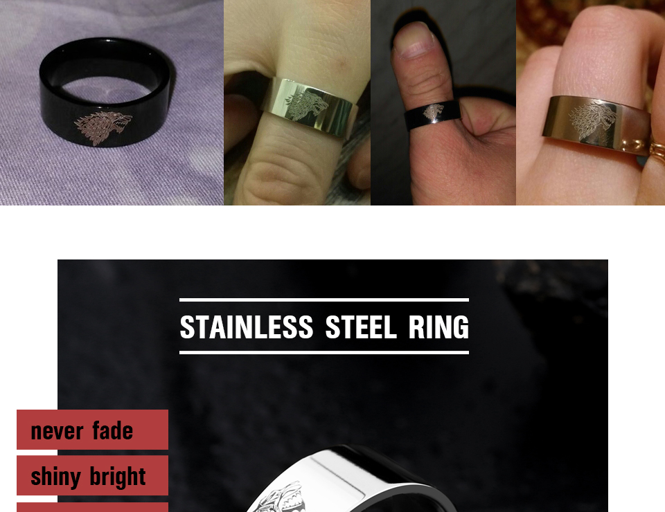 got7 - Game of Thrones Ice Wolf Stainless Steel Ring