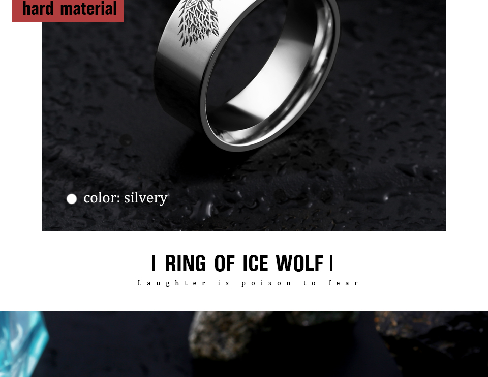 got8 - Game of Thrones Ice Wolf Stainless Steel Ring