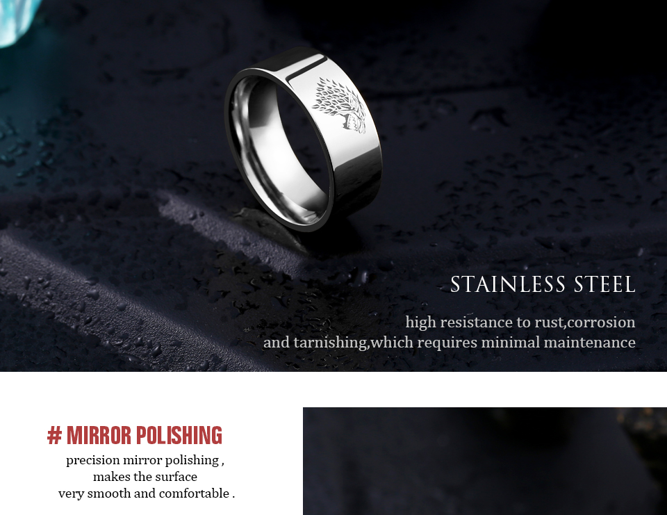 got9 - Game of Thrones Ice Wolf Stainless Steel Ring