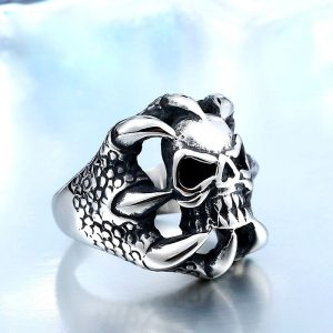 skull biker fashion stainless steel ring 04 300x300 - Dragon Claw Skull Ring