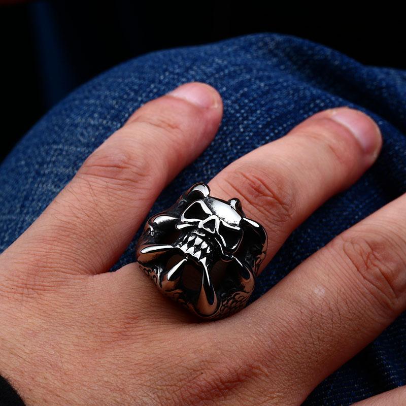 skull biker fashion stainless steel ring 05 - Dragon Claw Skull Ring