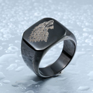 Game of Thrones Ice Wolf Stainless Steel Ring Black 300x300 - Game of Thrones Ice Wolf Stainless Steel Ring