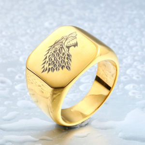 Game of Thrones Ice Wolf Stainless Steel Ring Gold 300x300 - Game of Thrones Ice Wolf Stainless Steel Ring