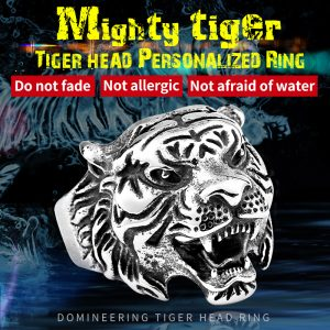 mighty tiger1 300x300 - Mighty Tiger Head Stainless Steel Titanium Ring