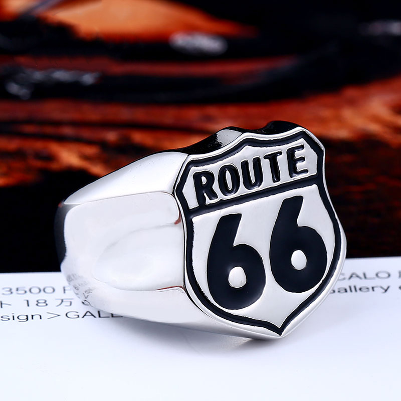route 66 a - USA Biker Road ROUTE 66 Stainless Steel Ring LLBR8-126R