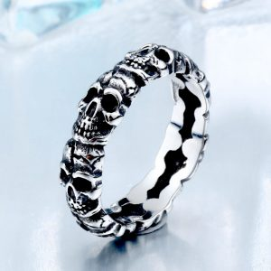 Thin Skull Stainless Steel Ring 2 300x300 - Thin Skull Stainless Steel Ring