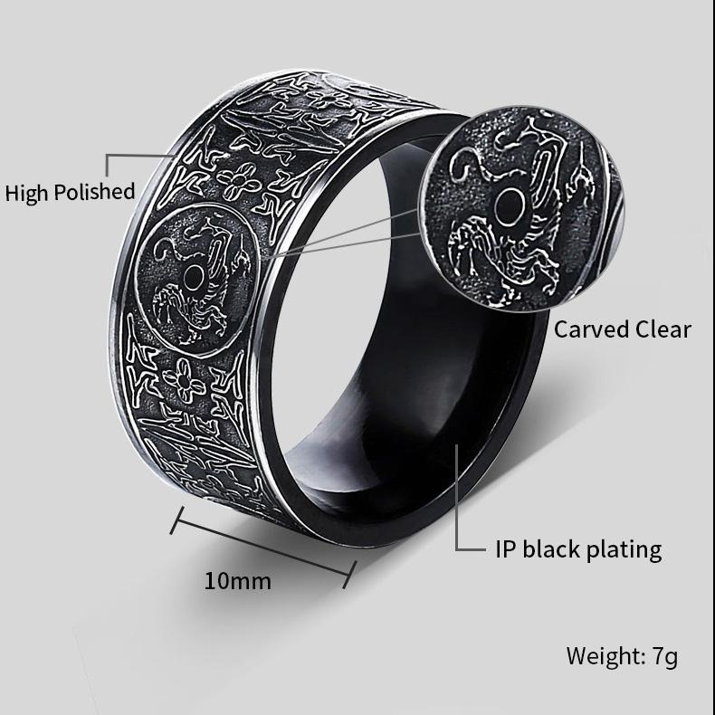 azure dragon 5 - Azure Dragon Stainless Steel Ring