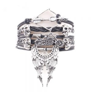arrow skull angel wing biker 1 300x300 - Arrow Skull Angel Wings Biker Bracelet