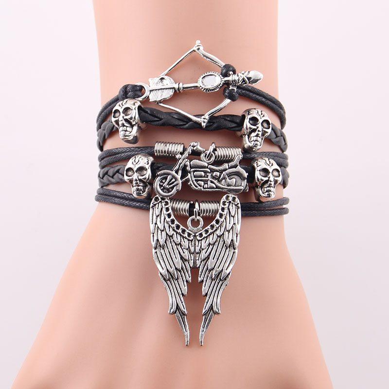 arrow skull angel wing biker 2 800x800 - Arrow Skull Angel Wings Biker Bracelet