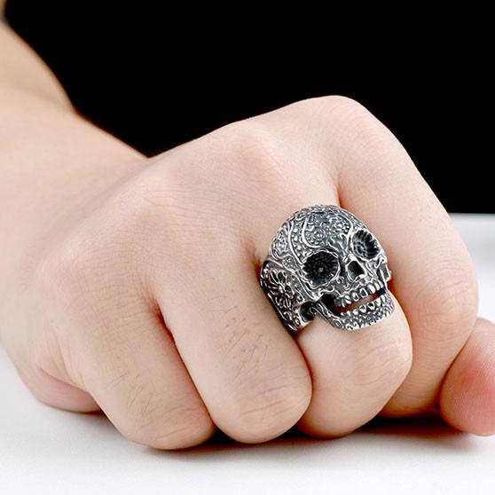 garden flower skull ring 1 - Carved Skeleton Ring