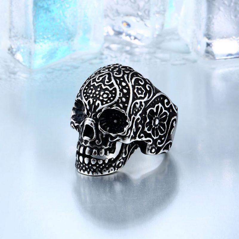 garden flower skull ring 2 800x800 - Carved Skeleton Ring