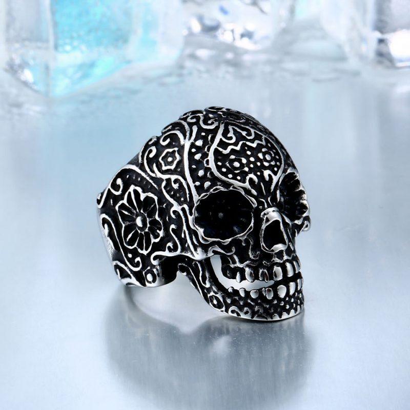 garden flower skull ring 4 800x800 - Carved Skeleton Ring