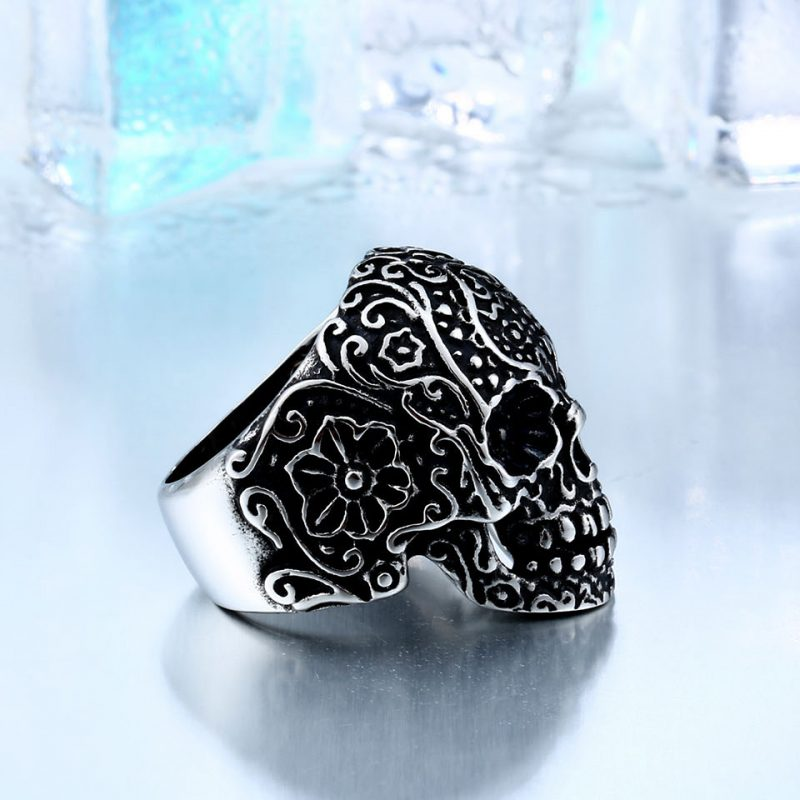 garden flower skull ring 5 800x800 - Carved Skeleton Ring