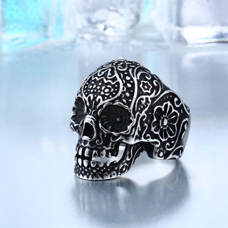 garden flower skull ring 6 800x800 - Carved Skeleton Ring