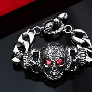 red eye stone biker skull bracelet 1 300x300 - Iconic Ring