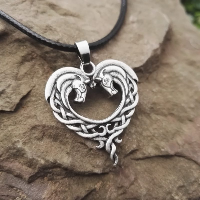 Celtic horse necklace 1 800x800 - Celtic Horse Heart Necklace