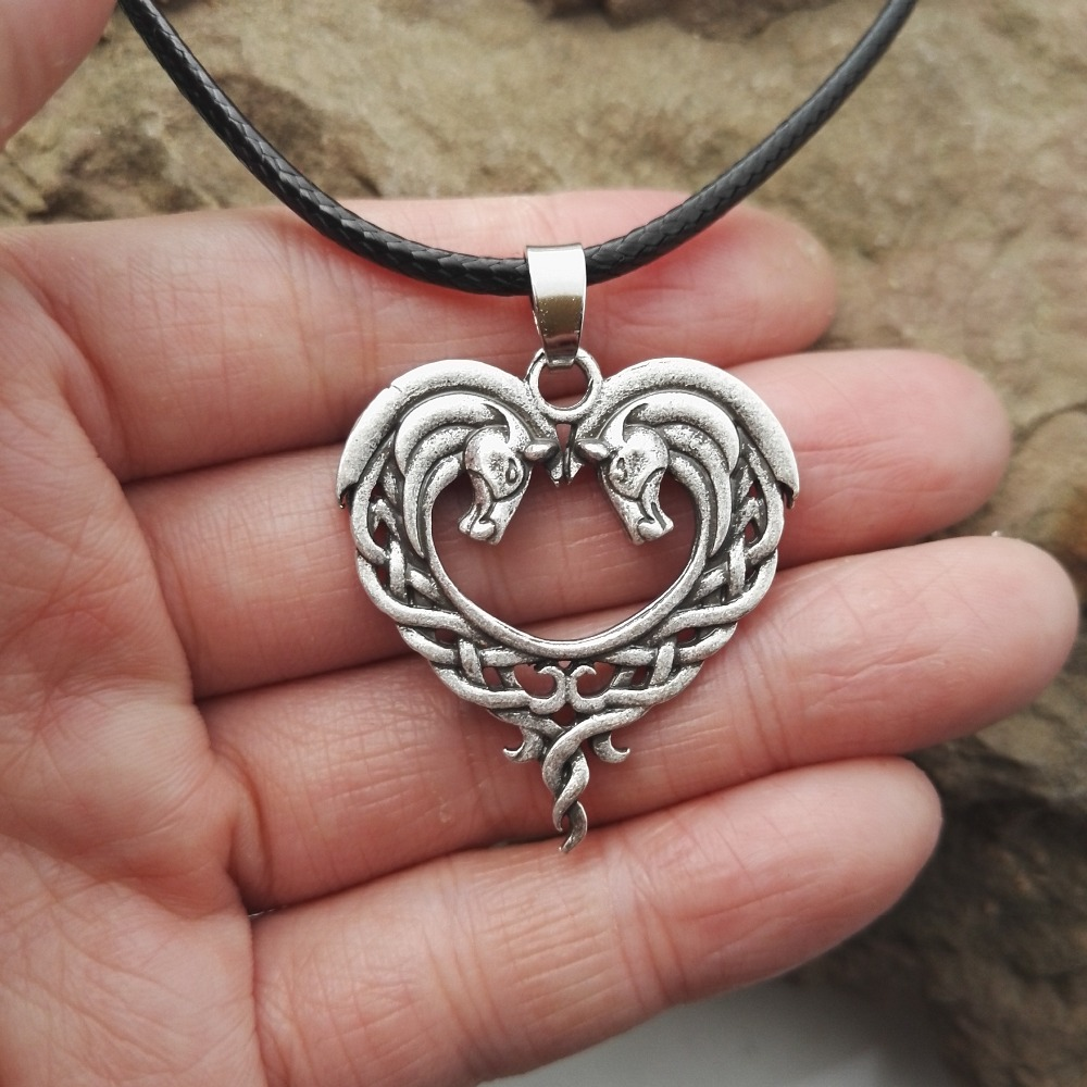 Celtic horse necklace 3 - Celtic Horse Heart Necklace