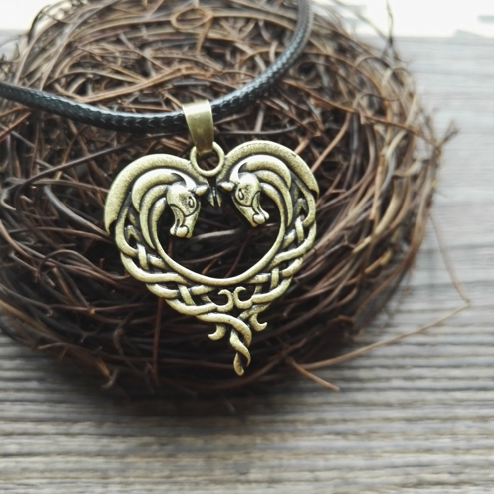 Celtic horse necklace 5 - Celtic Horse Heart Necklace