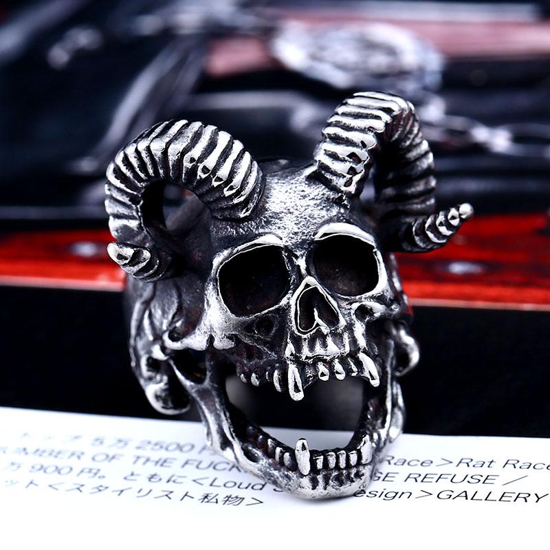 Skull Goat Horn Ring 2 - Skull Goat Horn Ring