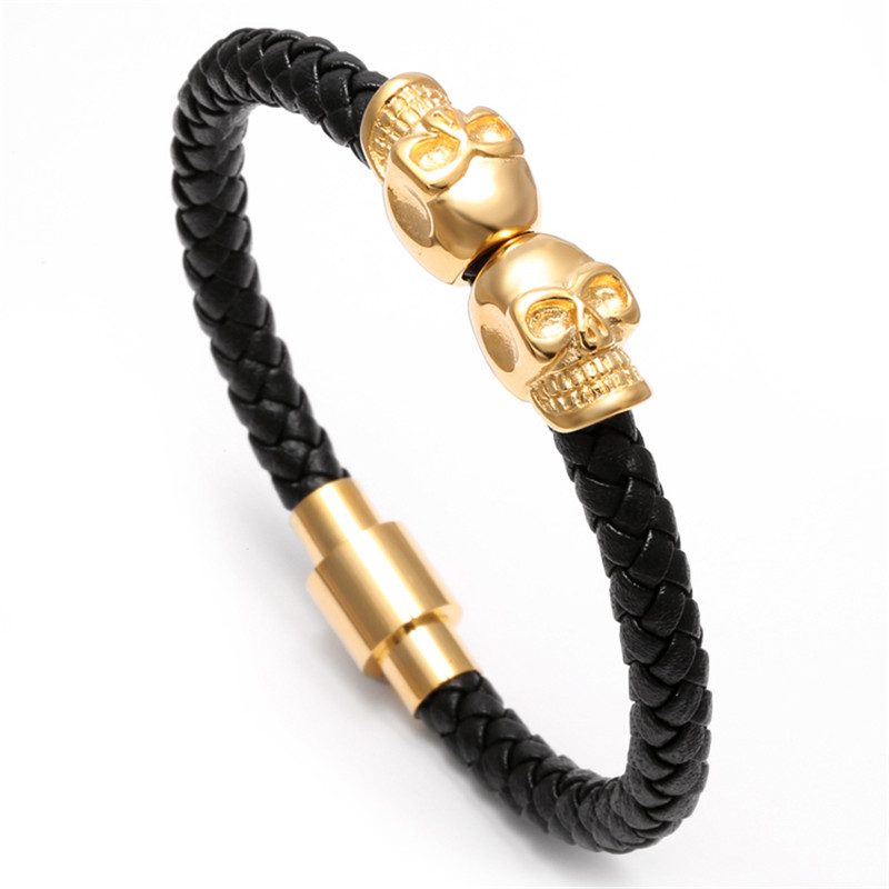 11281 082615f91a42e5fc034edd154c9d00b7 - Rock Style Leather Men's Bracelet with Titanium Skulls