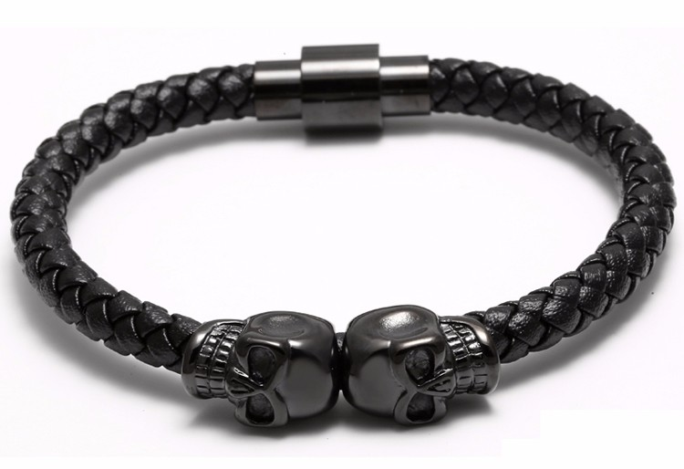 11281 22f64ce2a4c29df06d08274808cf8933 - Rock Style Leather Men's Bracelet with Titanium Skulls