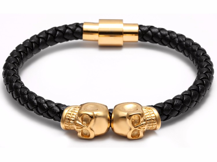 11281 6c2a1fa7abb8ce4bfd441e9292d2c117 - Rock Style Leather Men's Bracelet with Titanium Skulls