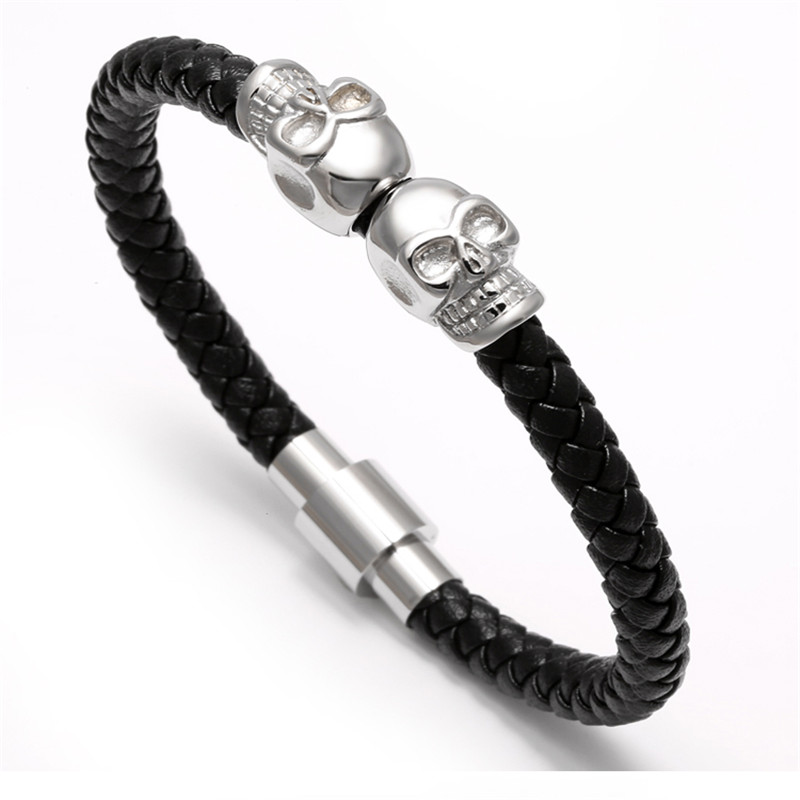 11281 a8108896e80c2871ba8d8596981d7af0 - Rock Style Leather Men's Bracelet with Titanium Skulls