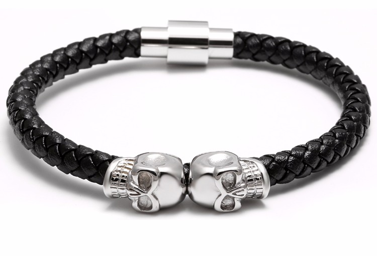 11281 f84262791217b4b670e9fb8d4d32f61a - Rock Style Leather Men's Bracelet with Titanium Skulls
