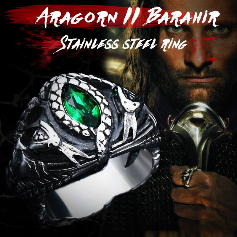BEIER Animal product Aragorn II Barahir snake Stainless Steel One Ring Of Power Men jewelry Fashion - Aragorn Barahir Ring