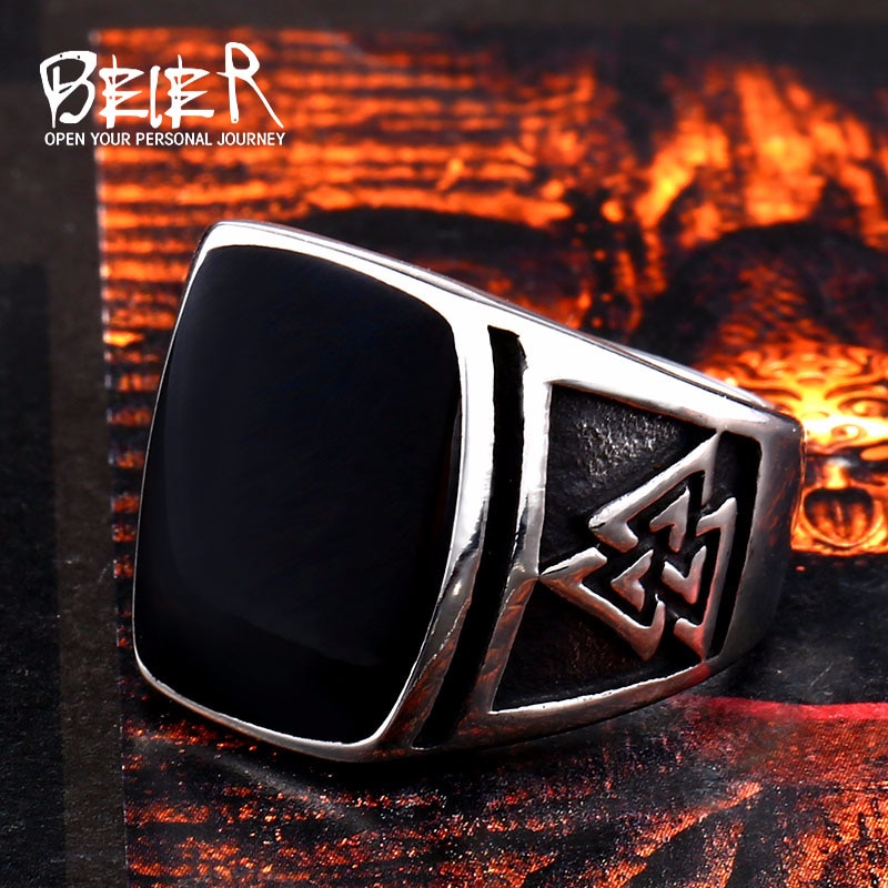 BEIER Cool Men s Retro Egypt Pattern Northern Europe Viking Stainless Steel Ring Gothic Style Fashion 1 - Viking Valknut Ring