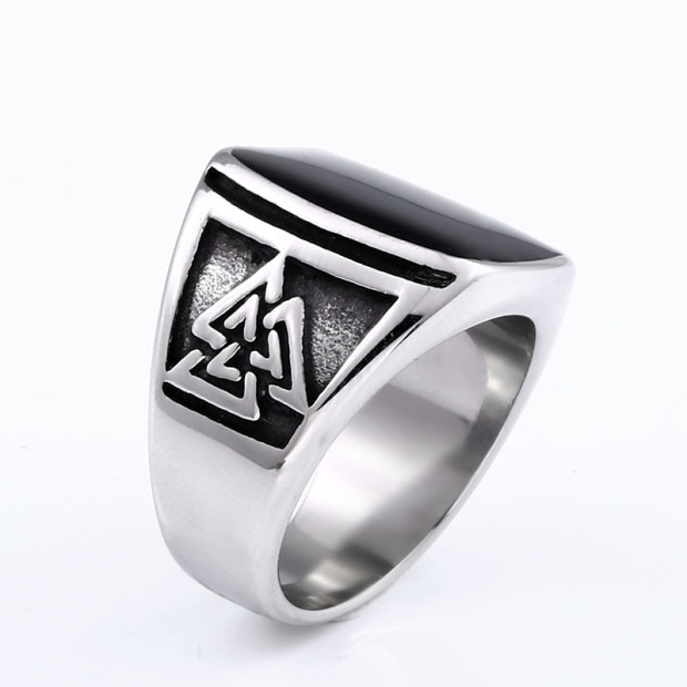 BEIER Cool Men s Retro Egypt Pattern Northern Europe Viking Stainless Steel Ring Gothic Style Fashion 2 - Viking Valknut Ring